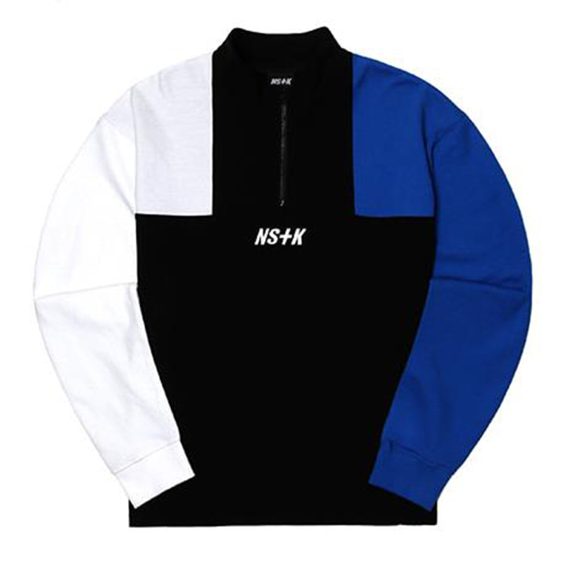[2018 SUMMER SALE] [NSTK] APACHE ZIPUP NECK LONG SLEEVE (BLK-BLUE)