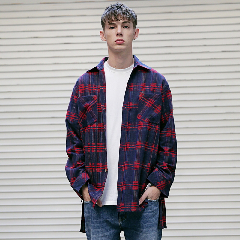 [MASSNOUN] CHRRYSANTHEMUM CHECK SIDE VENT LONG SHIRT MFVST002-NV
