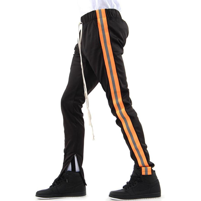 [EPTM] REFLECTIVE TRACK PANTS (BLACK/ORANGE)