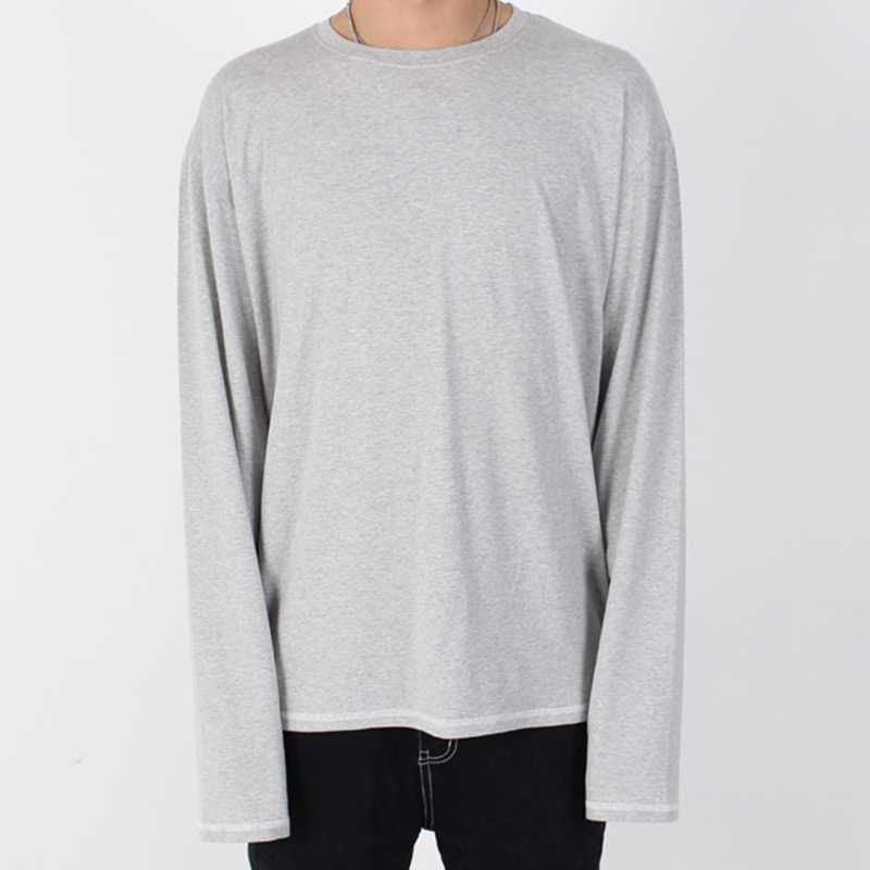 [BURJ SURTR] STITCH LONG T-SHIRT (GRAY)