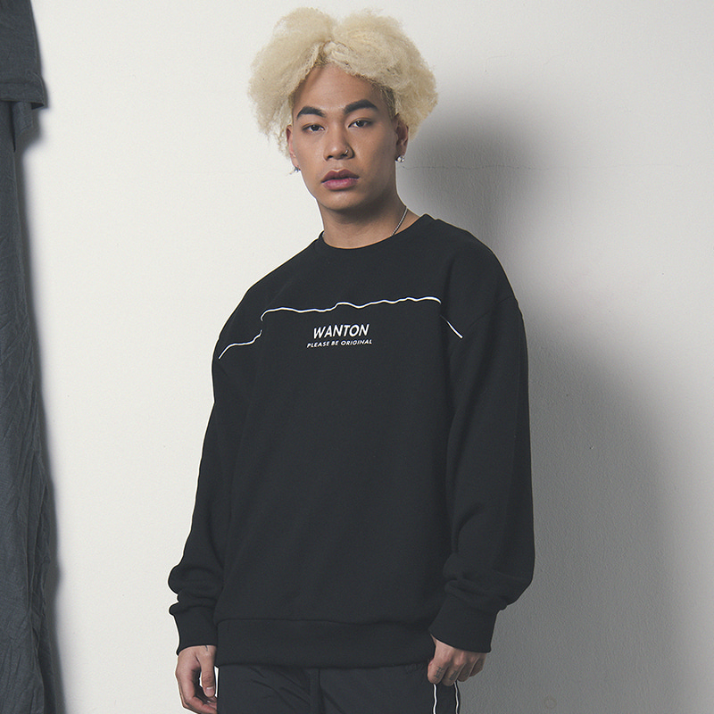 [WANTON] WINDBREAK SWEATSHIRT BLACK