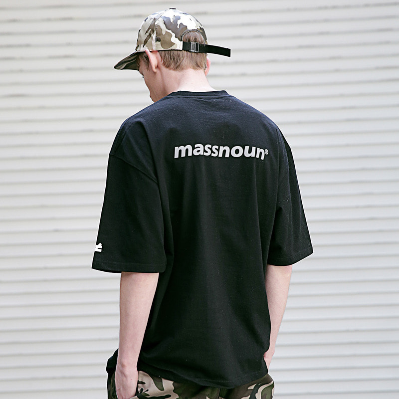 [MASSNOUN] DIFFERENT REFLECTIVE OVER-FIT T-SHIRTS MSETS002-BK