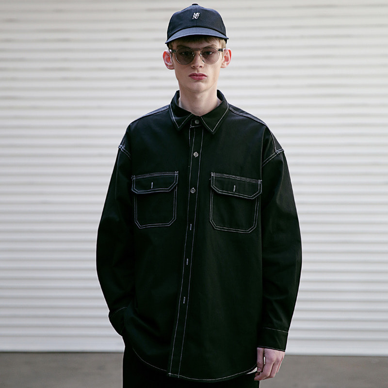 [4/6 예약발송] [MASSNOUN] STITCH LINE OVERSIZED SHIRTS MSEST002-BK