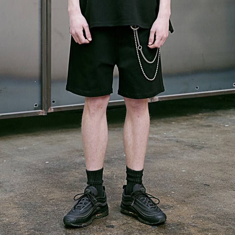 [4/13 예약배송] [MASSNOUN] NOR WIDE BLACK DENIM SHORT PANTS MSEJP010-BK