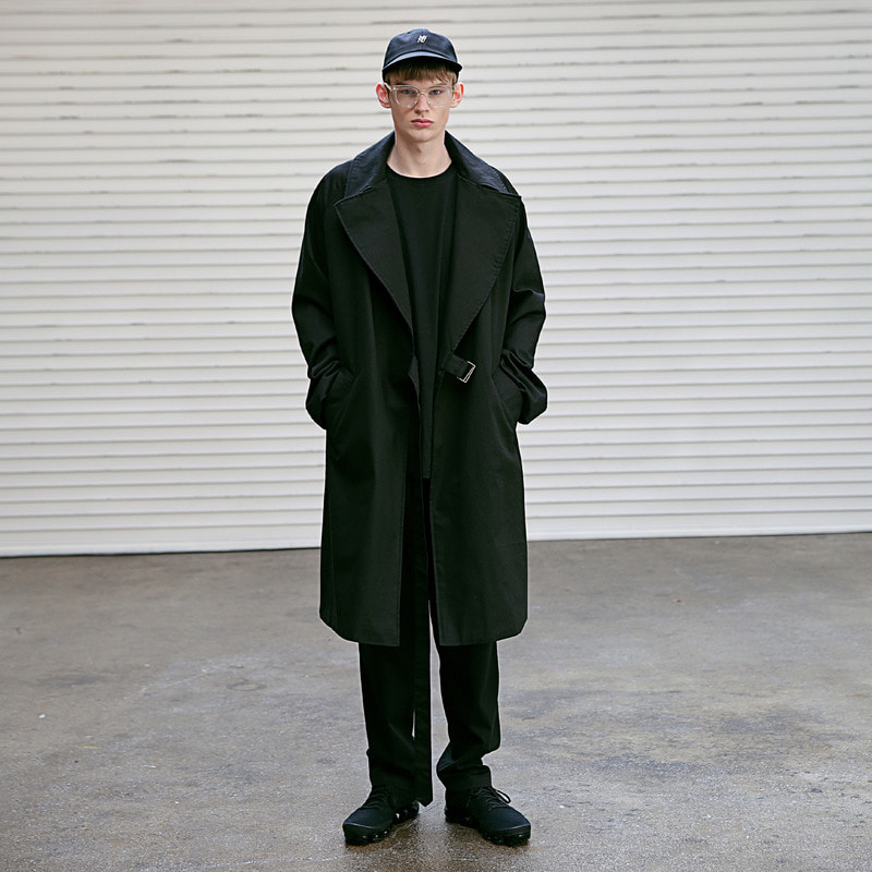 [MASSNOUN] D OVERSIZED RAGLAN TRENCH COAT MSECT001-BK