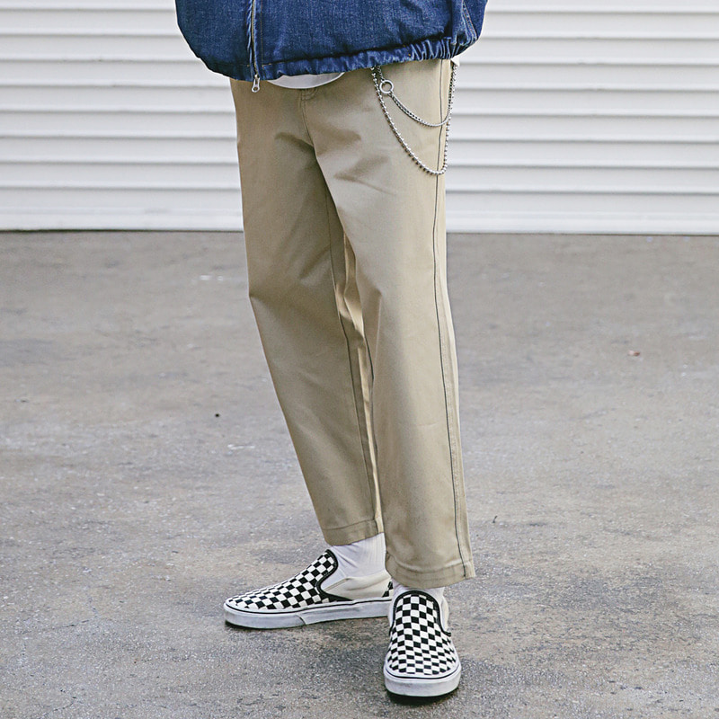 [4/13 예약배송] [MASSNOUN] NO TUCK WIDE CHINO PANTS MSECP002-BG