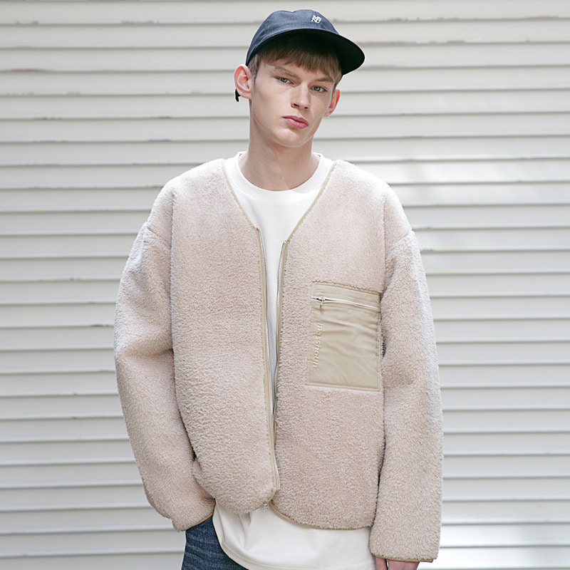 [MASSNOUN] SL LOGO SOFT WOOL FLEECE CARDIGAN MSECD001-BG