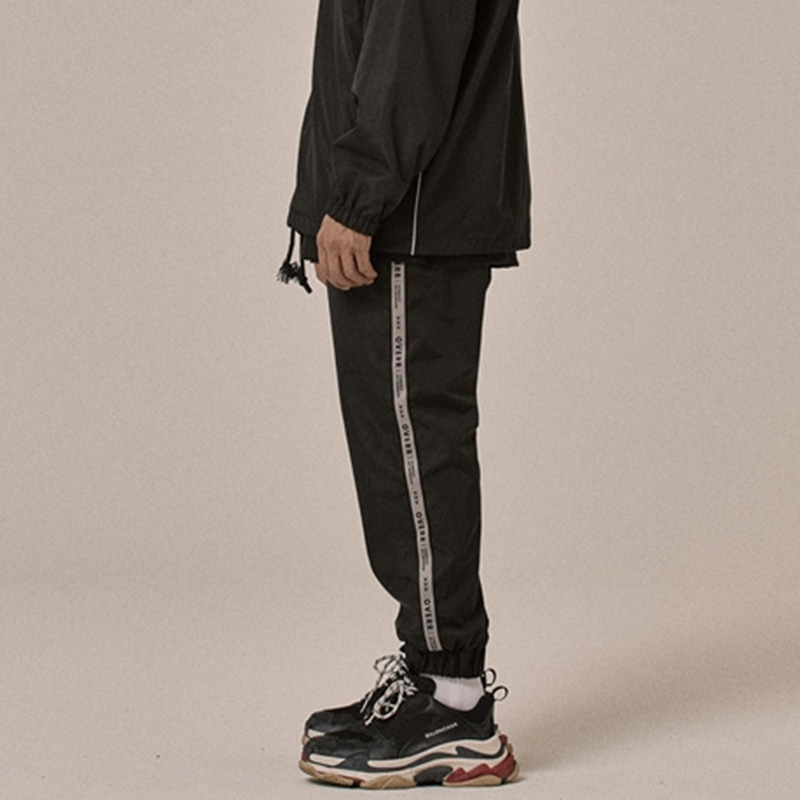 [OVERR] 18SS SIDE TAPING BLACK PANTS