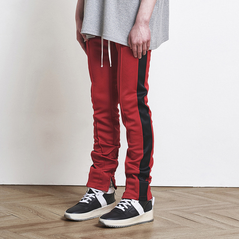 [SUMMER SALE 20% OFF] [DPRIQUE] TRACK ZIPPER PANTS (RED/BLACK)