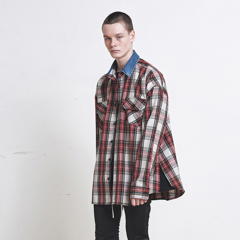 [SUMMER SALE 20% OFF]  [DPRIQUE] OVERSIZED DENIM COLLAR SHIRT (RED)