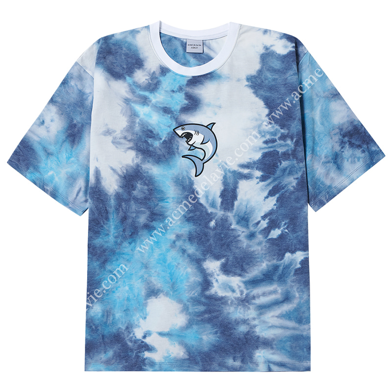 [ACME DE LA VIE] ADLV SHARK SHORT SLEEVE T-SHIRT (MULTI BLUE) 상어 반팔 타이다이 멀티블루