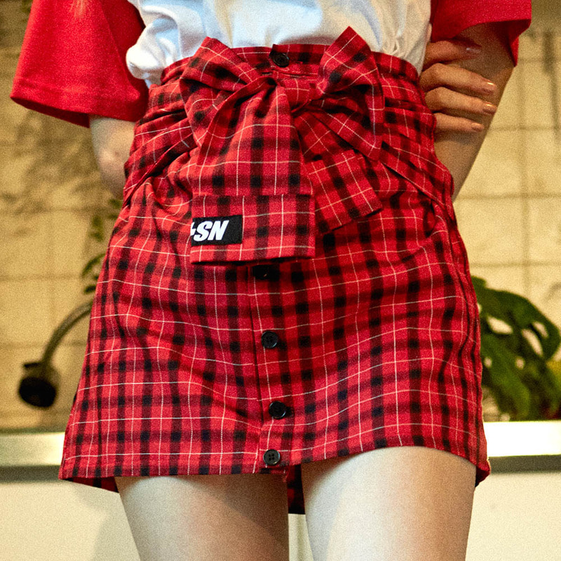 [2018 SUMMER SALE] [NSTK] FAKE SLEEVE SKIRT (RED)