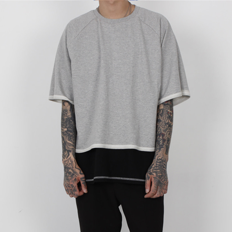 [BURJ SURTR] STITCH CROP 1/2 T-SHIRT (GRAY)