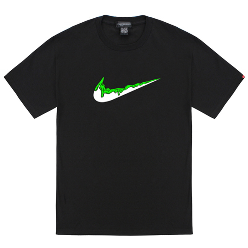 [TRIPSHION] GREEN BENDING TOOTHPASTE T-SHIRTS BLACK
