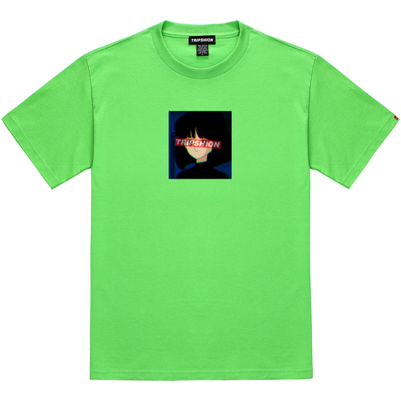 [TRIPSHION] GIRL SQUARE T-SHIRT LIME