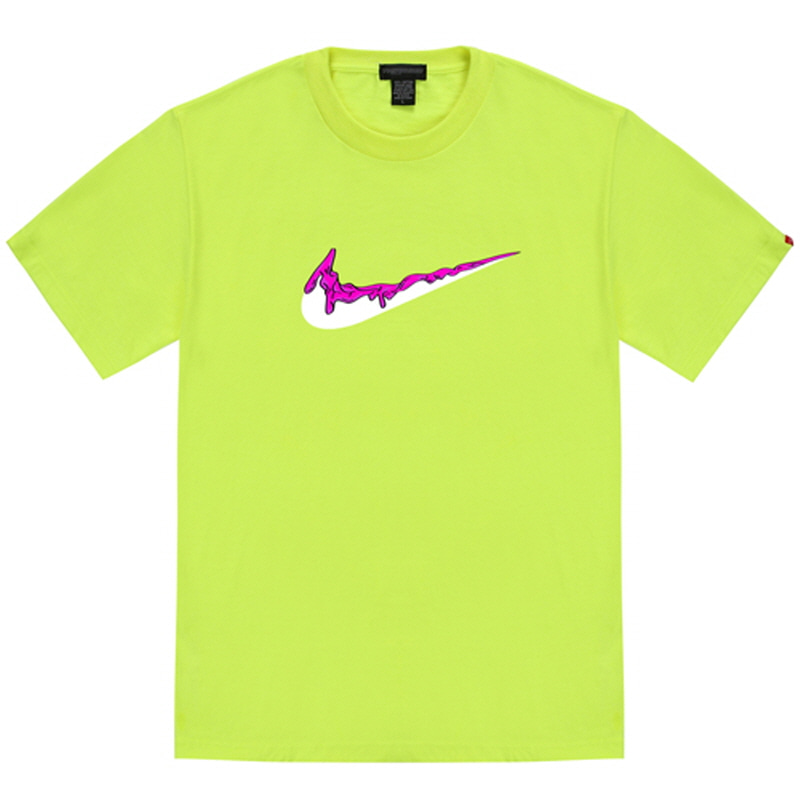 [TRIPSHION] PINK BENDING TOOTHPASTE T-SHIRTS NEON GREEN