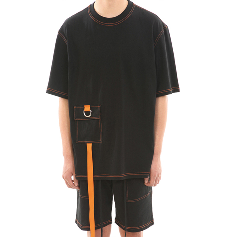 [SUMMER SALE 20% OFF] [LANG VERSIO] ORANGE STITCH 1/2 TEE (BLACK)