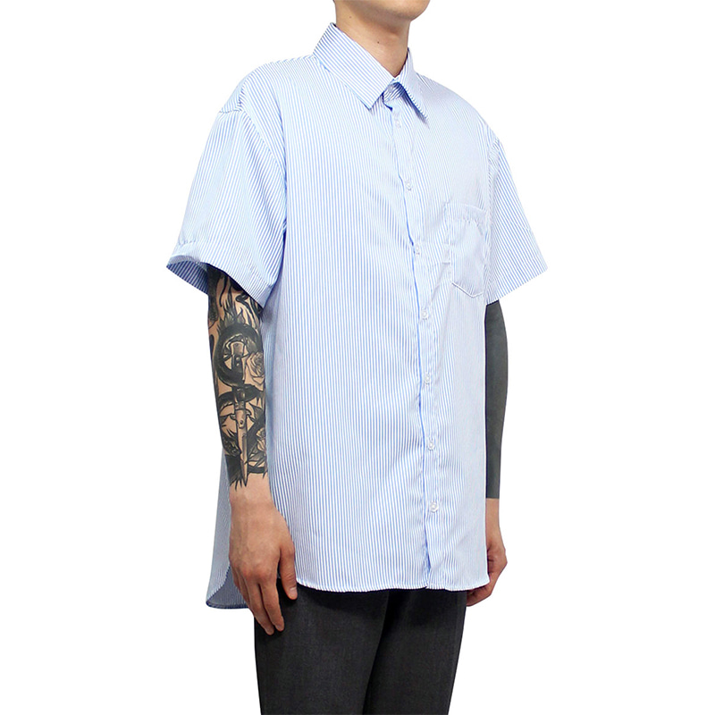 [CLACO] 1/2 STRIPE SHIRT V2 (SKY BLUE)