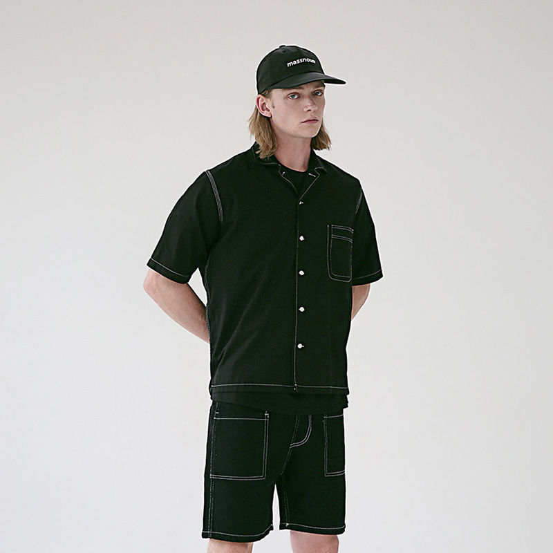 [MASSNOUN] STICH LINE POCKET BASIC SHIRTS MSEST009-BK