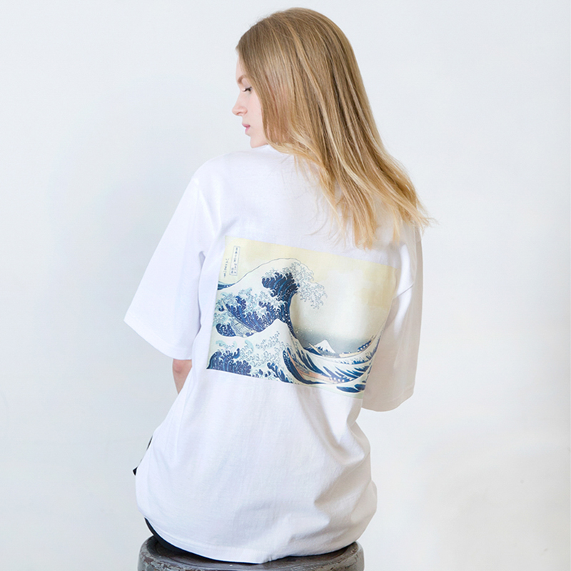 [SUMMER SALE 20% OFF] [WHOLOVESART] UNISEX WAVE SHORT T-SHIRT (WHITE)
