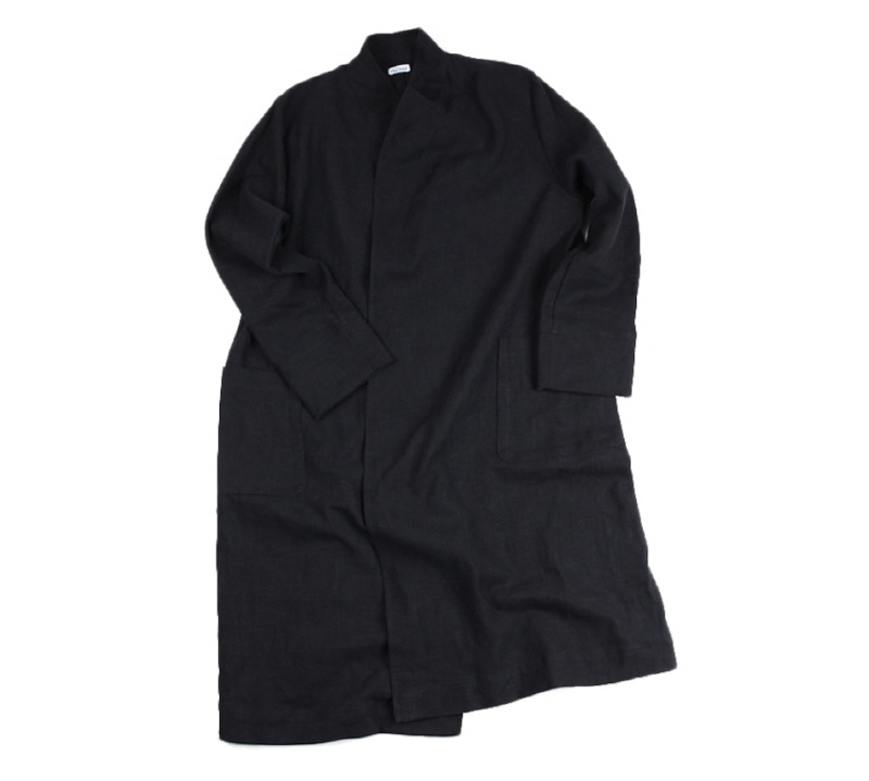 [18 HOUR] 18# HEAVY LINEN A LINE COAT (BLACK)
