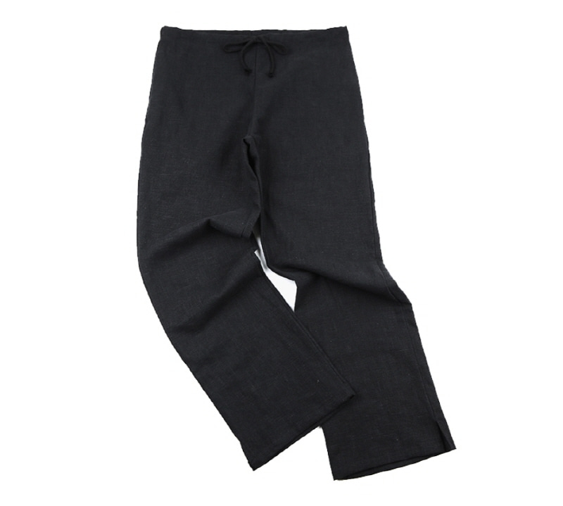 [18 HOUR] 19# HEAVY LINEN WIDE FIT EASY PANTS (BLACK)