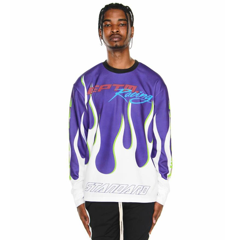 RACING LONG SLEEVES TEE (PURPLE/WHITE)