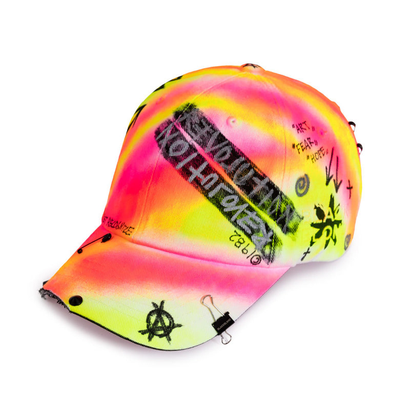[BLACKBLOND] BBD SIDE LOGO LOLLIPOP GRAFFITI CAP (PINK/NEON)