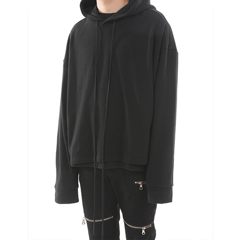 [LANG VERSIO] 130 BASIC LINE OVER CROP HOODY