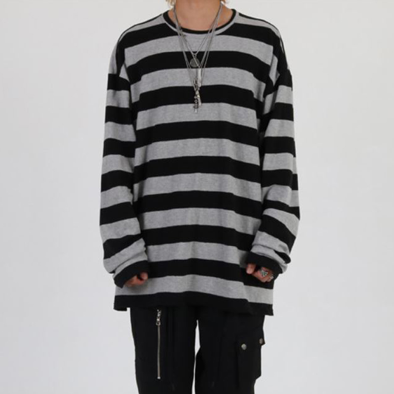 [INNOVANT] ROUND NECK STRIPE OVER LONG SLEEVE (GRAY)