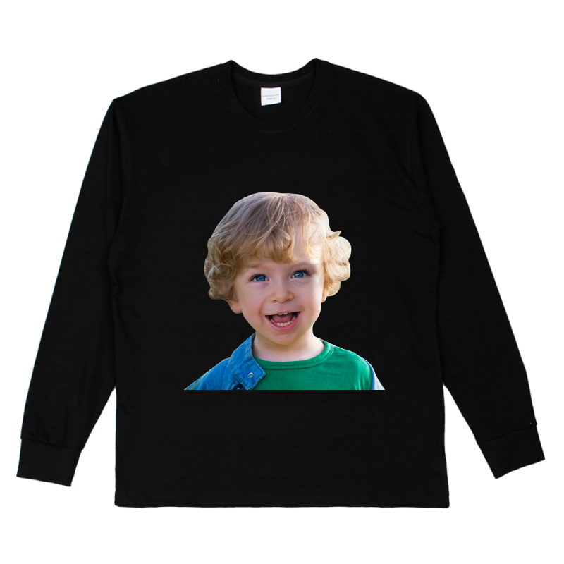 [ACME DE LA VIE] ADLV BABY FACE LONG SLEEVE T-SHIRT BLACK 베이비 페이스 긴팔 스마일 블랙