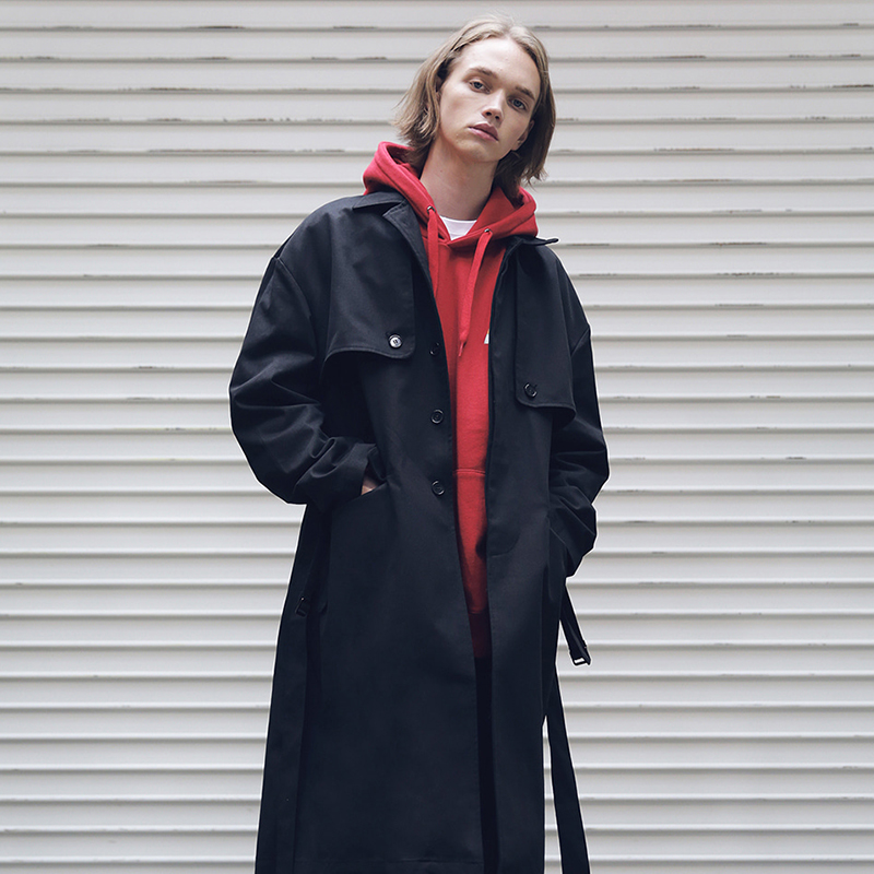 [MASSNOUN] D-HIDEN SINGLE TRENCH COAT MFECT001-BK