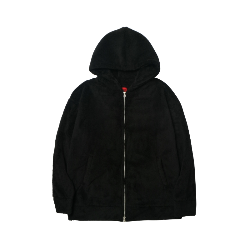 [DEADEND] BLACK SHERPA 2WAY ZIP UP HOODIE