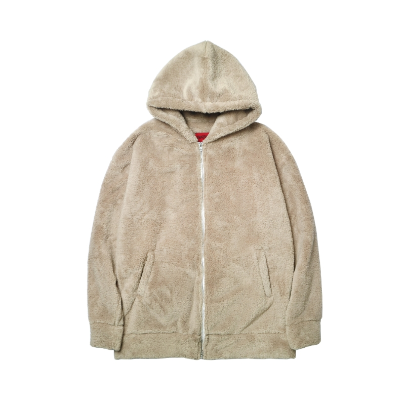 [DEADEND] BEIGE SHERPA 2WAY ZIP UP HOODIE
