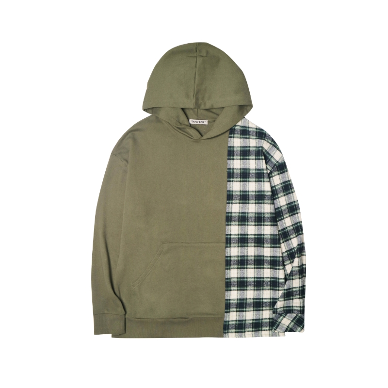 [DEADEND] KHAKI DIVIDED PULLOVER HOODIE