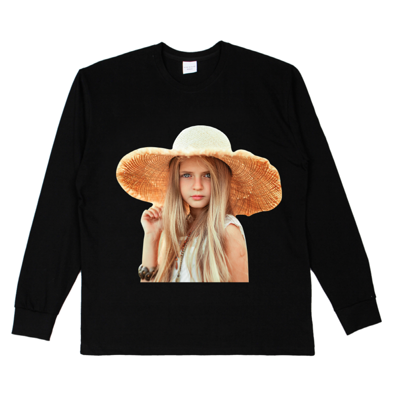 [ACME DE LA VIE] ADLV BABY FACE LONG SLEEVE T-SHIRT BLACK 베이비 페이스 긴팔 밀짚모자 블랙