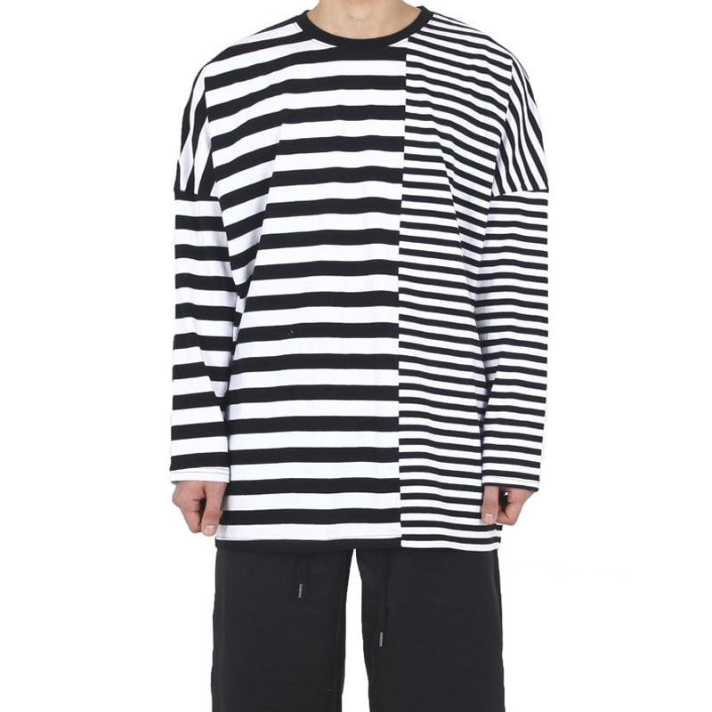 UNBALANCE STRIPE T-SHIRT (BLACK/WHITE)