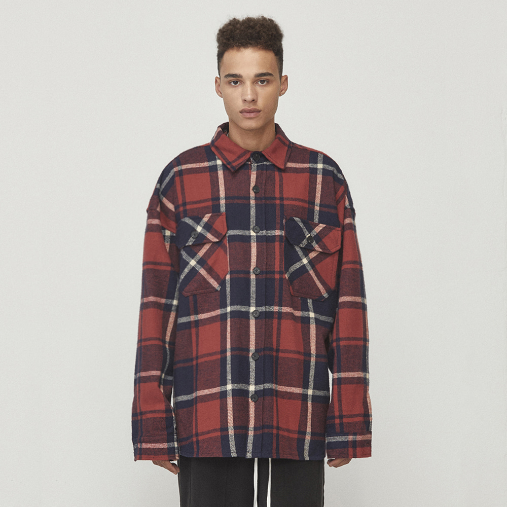 OVERSIZED CHECK SHIRT (RED/NAVY)