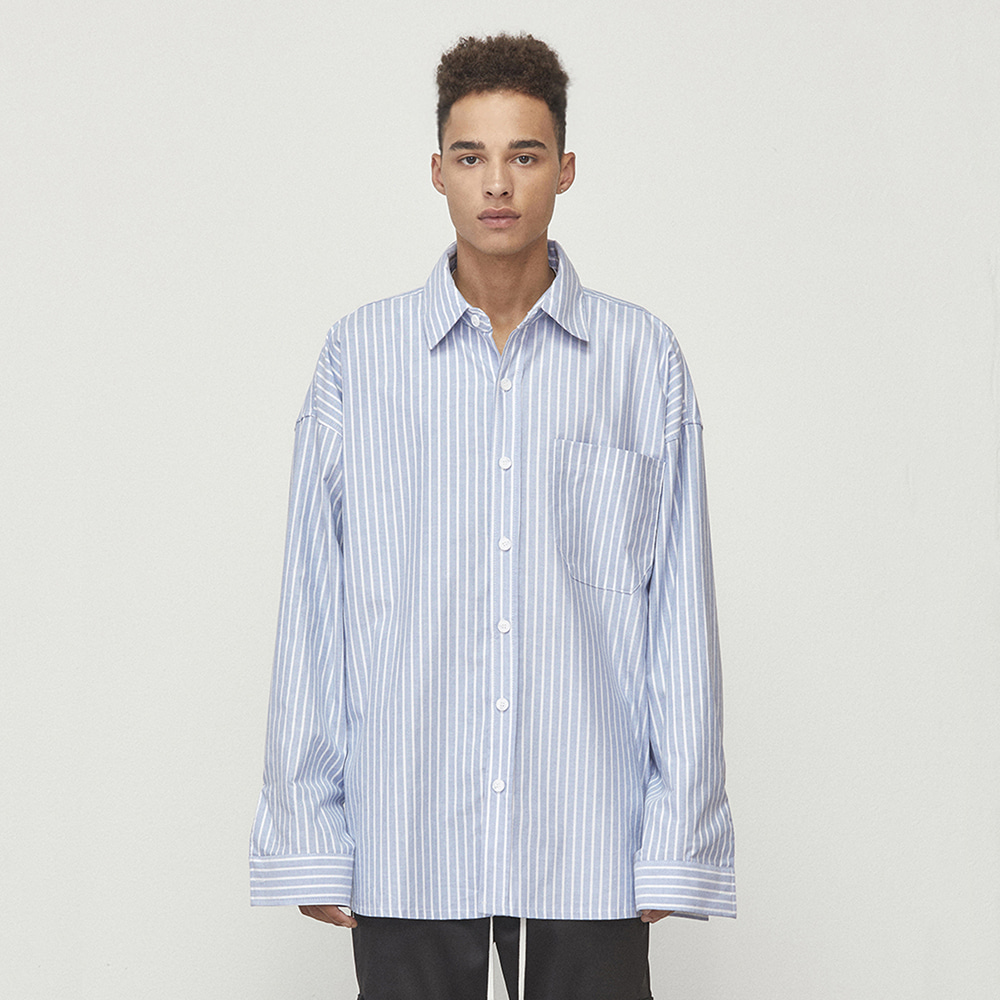OVERSIZED STRIPED SHIRT (BLUE)