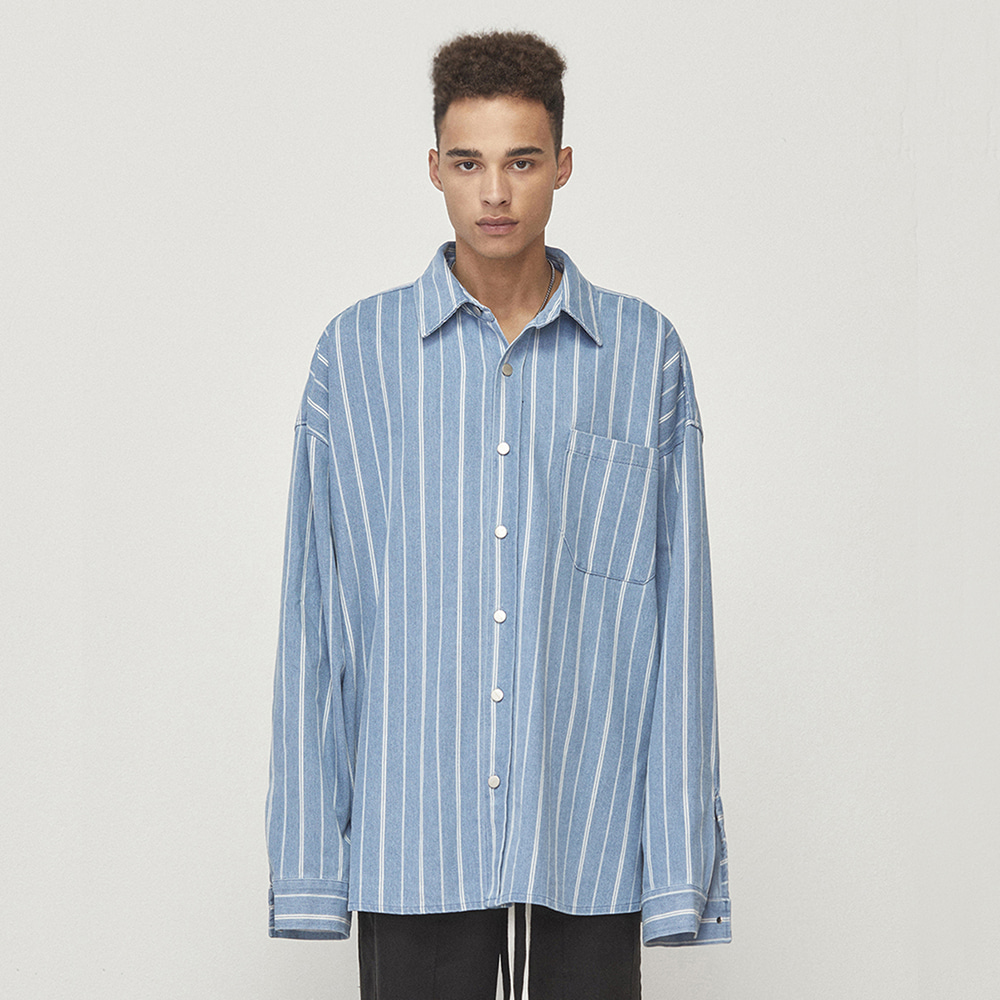 DENIM SHIRT JACKET (BLUE STRIPED)