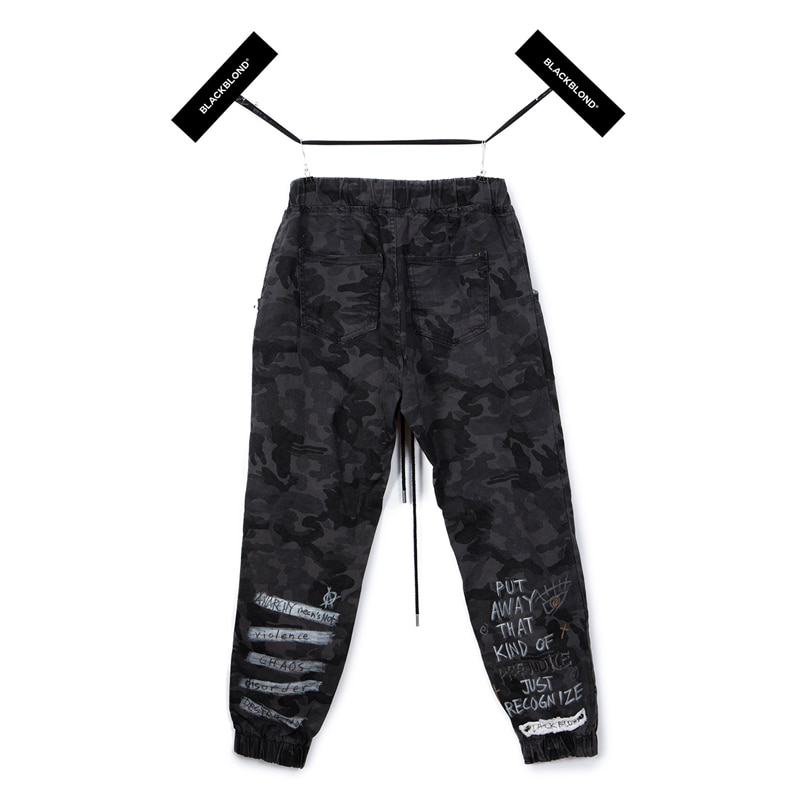 [BLACKBLOND] BBD GRAFFTI CAMO JOGGER PANTS (GREY)