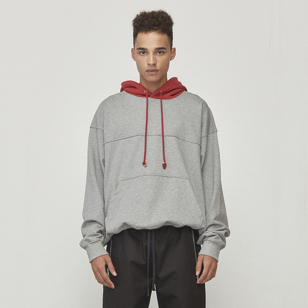 OVERSIZED CONTRAST HOODIE (GREY/RED)