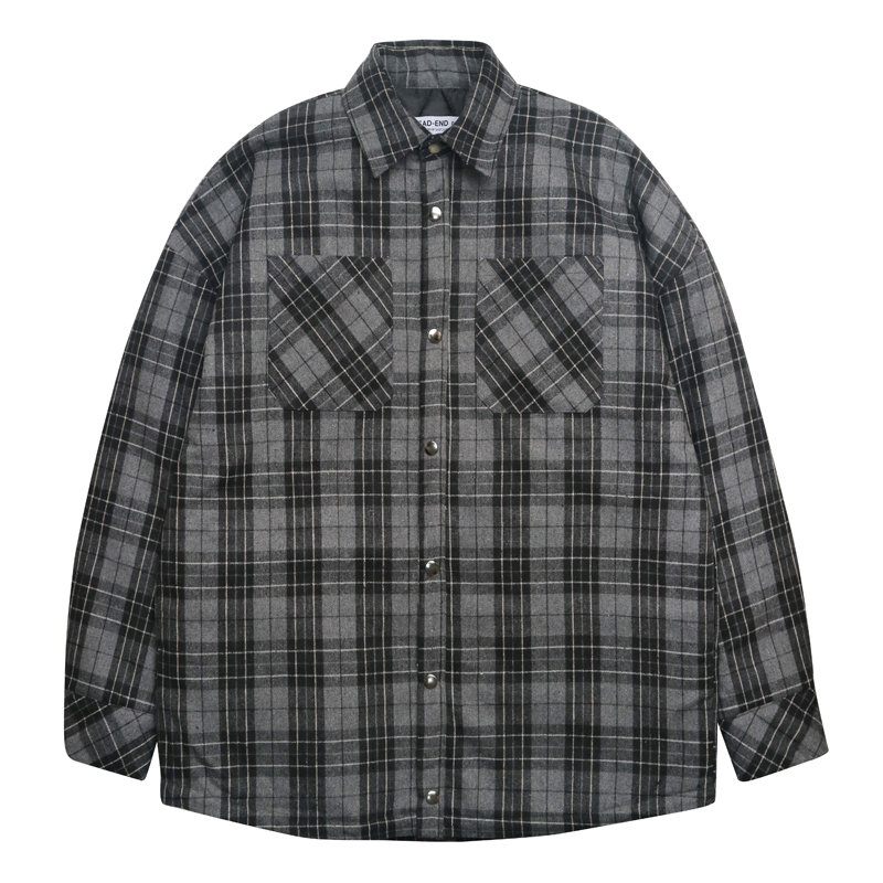 [DEADEND] BLACK FLANNEL PADDING SHIRTS (BLACK)