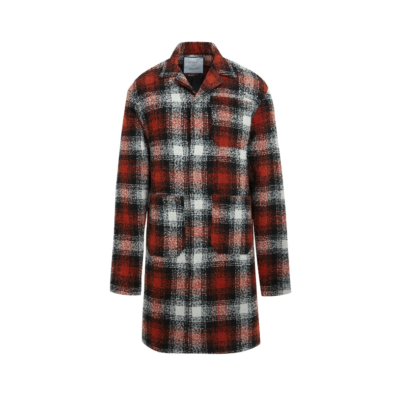ADLV CHECK COAT RED