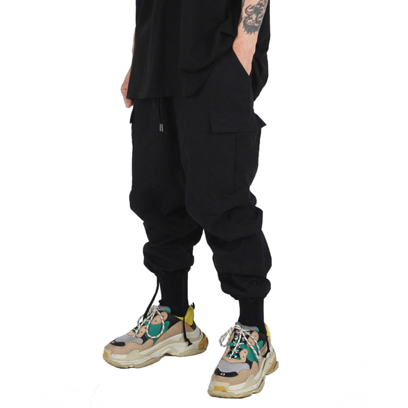 STRING CARGO PANTS (BLACK)