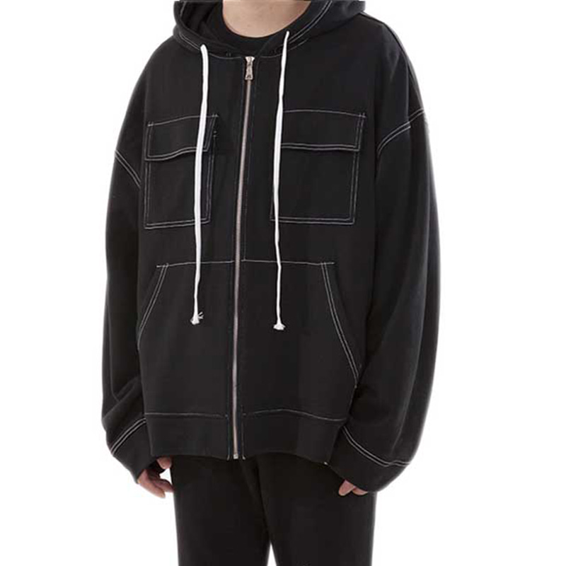 140 STITCH HOOD ZIP-UP (BLACK)
