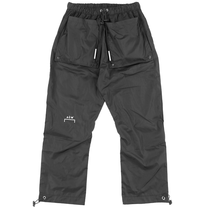FRONT FLAPS NYLON TROUSERS (BLACK)