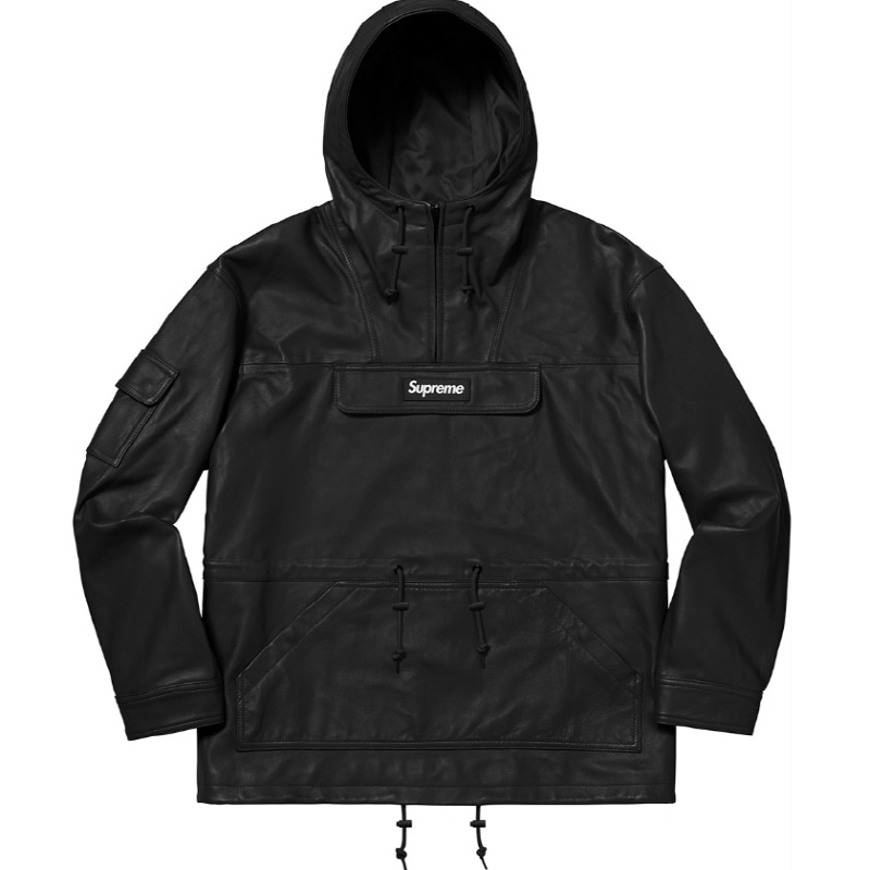18FW LEATHER ANORAK BLACK
