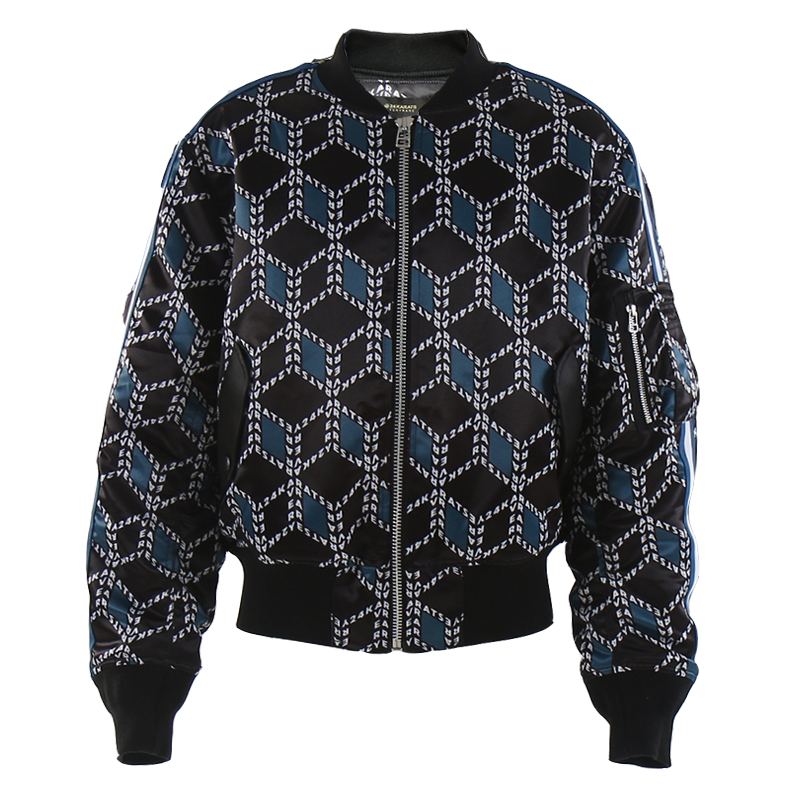 VR24K PATTERN BOMBER JACKET (BLACK/BLUE)