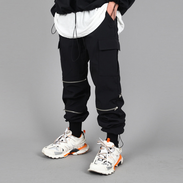 CARGO ZIPPER JOGGER PANTS BLACK